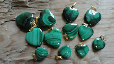 Malachite Heart Cabochons with Gold Loops 12-17mm Assorted (pkg of 12)