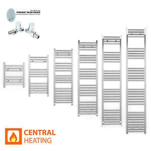 Small Chrome Heated Towel Rail Radiators Bathroom Stylish Rad Flat Narrow Size