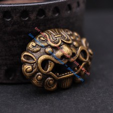 6X Solid Brass Chinese Guardian Foo Dog Lion Leathercraft Wallet Belt Conchos