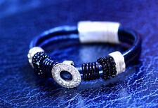 Original Design Real Leather Rhinestone Diamante Magnet Clip Lock Bracelet