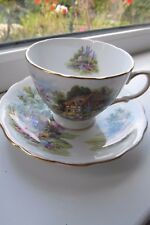 Royal Vale Country Cottage Tea Cup & Saucer Fine Bone China British