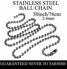 STAINLESS STEEL BALL CHAIN 30INCH/76CM ***UK SELLER***