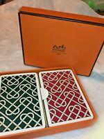 Vintage HERMES 2 PLAYING Card DECKS & Box   Poker /Games HEART ROPE Design