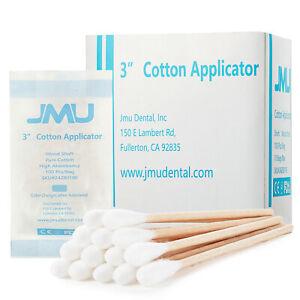 """1000Pcs(10 bags) JMU Cotton swabs Q Tip Applicators Wooden Handle Medical use 3"""""""