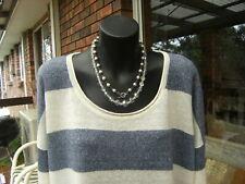 SPORTSCRAFT long sleeve ivory/blue pure linen knit Top size M/L 12/14