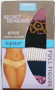 Women's 6 Pack Hipsters Plus Size 1X Cotton Stretch Soft Secret Treasures