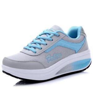 Women's Toning Rocker Shoes Womens Mesh Slip On Wedges Tennis Platform Sneakers