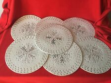 """New listing 7 Pc Set Silver Beaded Placemats Christmas Holiday 15"""" square"""