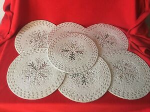 "7 Pc Set Silver Beaded Placemats Christmas Holiday 15"" square"