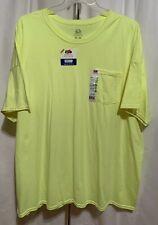 Fruit of the Loom Platinum Big Men's 4XL Safety Green Crew Pocket T-Shirt NWT
