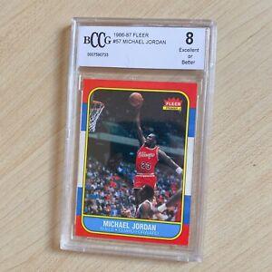 Michael Jordan #57 Rookie RC 1986-87 Fleer Graded 8 Excellent