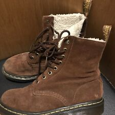 Dr Martens Suede Shearling Serena Boots Size 4 (EU 37) Brown