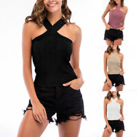 New Women Cross Neck Halter Sleeveless Tank Top Vest Summer Tight T Shirt Blouse