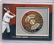 LOU GEHRIG 2010 Topps Series 1 1936 World Series COMMEMORATIVE PATCH YANKEES HOF
