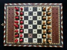 VINTAGE MINIATURE TRAVELING CHESS BOARD - DAMASCUS MARQUETRY W/ WOOD PIECES