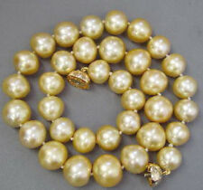 Natural 12mm Yellow Golden Shell Pearl Necklace 17 Inch PN1499