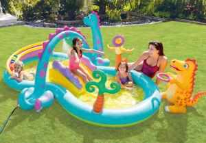 Bestway 11ft Slide in Splash Kids Paddling Pool 602L Provides Extra Fun NEW/_UK