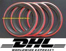 """Classic Oldtimer 15"""" Black&Red Wall Portawall Tire insert trim set x4"""