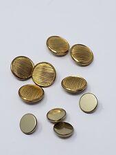 Waterbury button Lot of 10 striped plain gold tone