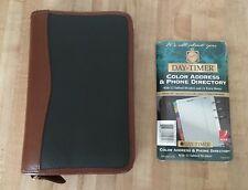 Classic Daytimer Day Timer Dark Green & Brown Leather Organizer Planner