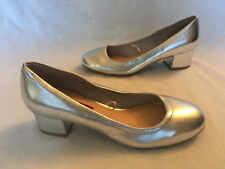 """Atmosphere ~ Silver Metallic Courts Shoes ~ 2"""" Block Heels ~ Size 5 38"""