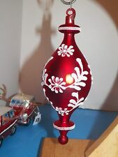 NWT XL LONG ' BLOWN GLASS RED SPINDLE GLITTERED STENCIL ORNAMENT BEAUTFUL
