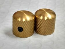 Raw Brass Unplated Knurled Dome Knobs Fits Fender USA & MIM Telecaster P Bass