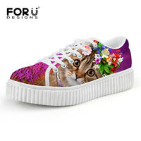 Lady Cat Woman Creeper Shoes Flatform Platform Height 4CM Plimsolls Hiking Shoes