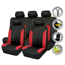 Car Seat Covers Set Black Red 11PC Front and Rear Bench Sponge Seats Protectors