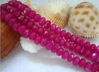 5x8mm Natural Brazilian Rose Red Ruby Gemstone Abacus Loose Beads 15 JL83