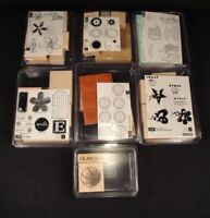 STAMPIN UP Wood Rubber Stamp Lot 7 Sets Expressions Slam Dunk 40 Stamps Total