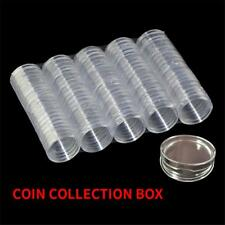 100pc Dia40mm Clear Round Plastic Coin Capsule Container Storage Box Holder Case