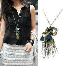 Women Lady Vintage Retro Crystal Peacock Pendant Sweater Long Chain Necklace New