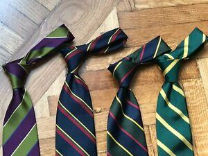 LOT of 4 -  Regimental Military Striped Ties - 100% silk England British Drake's