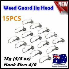 15X 18g ( 5/8oz ) Hook size 4/0 Weedguard Weedless Jig Head Chemically Sharpened