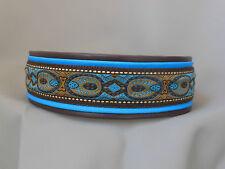 Halsband XL nach Maß individuell Breit 5cm Blau Türkis Gold Braun Rot