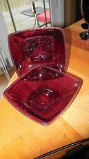 "Vintage Anchor Hocking ""Charm"" (2) dessert bowl (2) Georgian royal ruby tumblers"