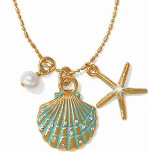 NWT Brighton AQUA SHORES Starfish Gold Charm Reversible Short Necklace MSRP $52