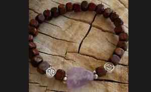 Silver Yin Yangl Walnut Wood Amethyst Gemstone Beaded Balance Spirit Bracelet
