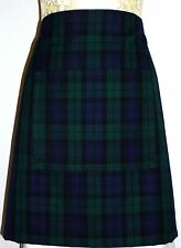 SHORT BISTRO / CAFE / PUB APRON, GREEN & NAVY SCOTTISH TARTAN . FRONT POCKET..
