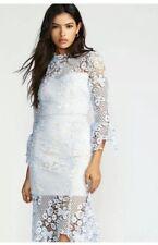 New Free People Floral Lace Crochet La Spezia Dress Blue sz small