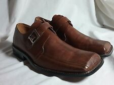 NEW MENS HAZAN BUCKLE SLIP ON LOAFER SHOES BROWN LEATHER 10 M EURO 43 31510-P1