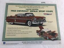 Danbury Mint L/E 1958 Chevrolet Impala Sport Coupe *Original Sales Flyer Only*