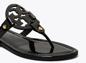 Tory Burch Miller Black Patent leather Flat Classic Sandals