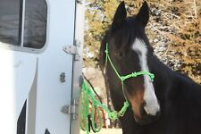 THOMEY NATURAL HORSE TRAINING 4-knot HALTER & 14-foot LEAD ROPE~ NEON LIME GREEN