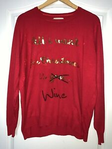 Papaya Red Xmas Jumper Gold Sequin All I want for Christmas is Wine Size XL