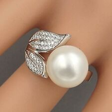 New White Pearl 925 Sterling Silver CZ Cultured Freshwater Adjustable Ring 00384