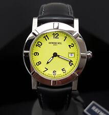 NEW $795 Ladies Raymond Weil W1 Date Black/Lime 30mm Swiss Watch 3030