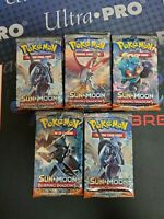 POKEMON TCG SUN & MOON BURNING SHADOWS 5 FACTORY SEALED BOOSTER PACK LOT