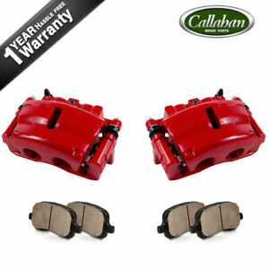 For 2009 2010 - 2012 CHEVROLET TRAVERSE Front Red Brake Calipers + Ceramic Pads
